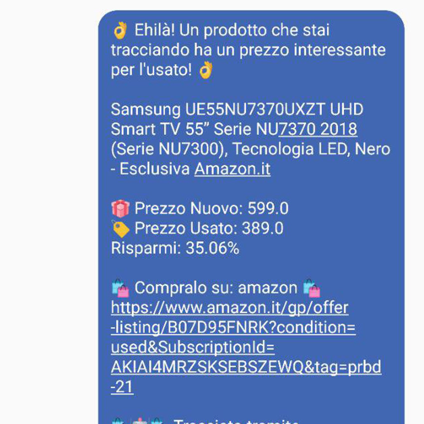 Notifiche prodotti usati